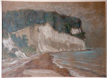 KU000600.; Steilküste mit Strand; Handzeichnung