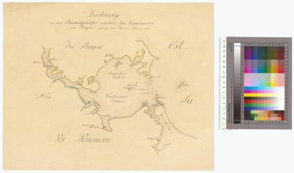 Zeichnung von dem Binnengewässer zwischen Neu-Vorpommern und Rügen Altkarten; Thematische Karten - Politik-, Rechts- und Verwaltungskarten