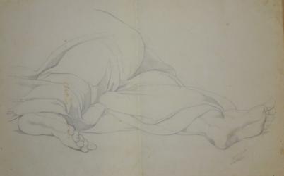 Handzeichnung toter Christus (Füße mit Gewand)