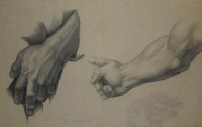Handzeichnung Handstudien (zwei) nach Raffaels Disputa del Sacramento