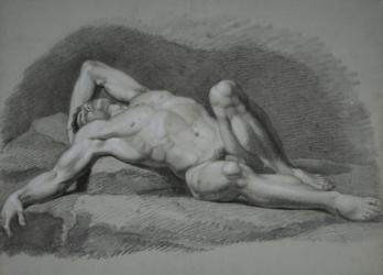 Handzeichnung männlicher Akt 15, auf dem Rücken liegend mit angewinkeltem linken Bein und Arm sowie ausgestrecktem rechten Bein und Arm