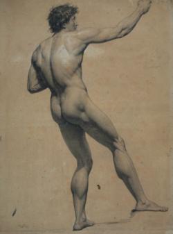Handzeichnung männlicher Akt 14, schräg in Rückenansicht, nach hinten gelehnt und an einem Seil ziehend