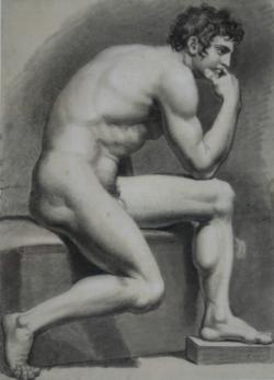 Handzeichnung männlicher Akt 13, seitlich von rechts, nach vorn gebeugt sitzend, den rechten Arm auf das linke Bein gestützt und die Hand an das Kinn geführt