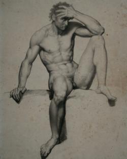 Handzeichnung männlicher Akt 12 (frontal), sitzend