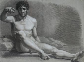 Handzeichnung männlicher Akt 11 (frontal), auf dem Boden sitzend mit erhobenem rechten Arm