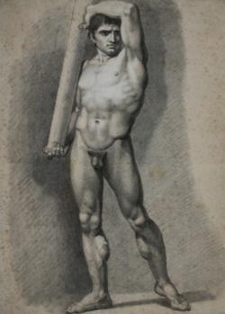 KU000438; männlicher Akt 10 (frontal), eine Säule haltend; Handzeichnung