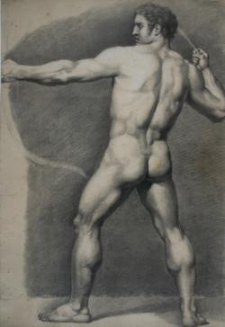Handzeichnung männlicher Akt 8, in Rückenansicht, einen Bogen spannend
