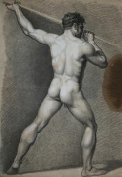 Handzeichnung männlicher Akt 7 (in Rückenansicht), einen Speer von links oben nach rechts unten stoßend