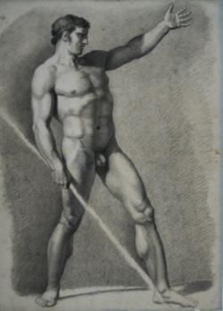 Handzeichnung männlicher Akt 6 (leicht schräg von vorn), Oberkörper zurückgelehnt, linkes Bein ausgestellt, linker Arm erhoben, rechte Hand hält einen Stab