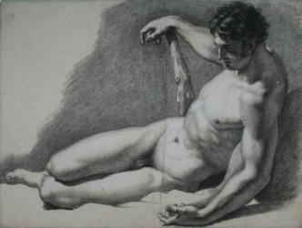 Handzeichnung männlicher Akt 4 (frontal), liegend, den rechten Arm auf eine Keule gestützt