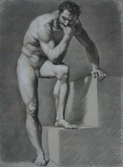 Handzeichnung männlicher Akt 3 (frontal), nach vorn gebeugt an einer Treppe stehend, linkes Bein auf der ersten Stufe stehend, rechter Arm auf der obersten Stufe aufgestützt, rechter Arm auf das linke Bein gestützt, die Hand das Gesicht stützend