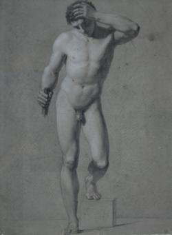 Handzeichnung männlicher Akt 2 (frontal), stehend, linkes bein auf einem Block aufgesetzt, linker Arm angewinkelt und den Kopf stützend, rechte Hand hält einen angedeuteten Stab