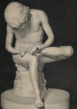 Handzeichnung Dornauszieher (Zeichnung einer antiken Statue)