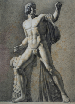 Handzeichnung Dioskur (Zeichnung einer männlichen antiken Statue)
