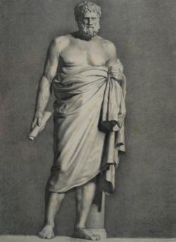 Handzeichnung Zeno der Stoiker (Zeichnung einer antiken männlichen Statue in Frontalansicht)