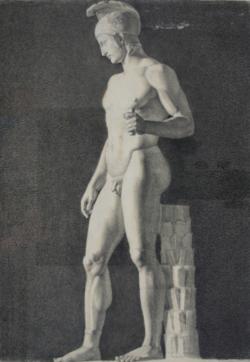 Handzeichnung Ares Borghese (Zeichnung einer antiken männlichen Statue)