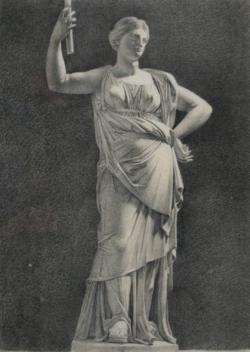 Handzeichnung Zeichnung einer griechischen weiblichen Marmorstatue