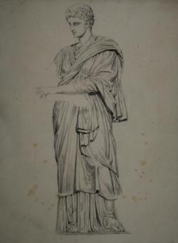 Handzeichnung Zeichnung einer antiken Statue