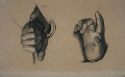 Handzeichnung Sacra Conversazione (Madonna di Foligno), (zwei Handstudien nach Raffaels Tafelbild)