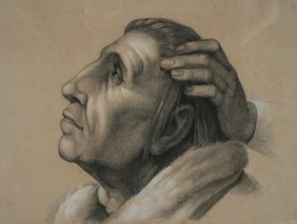 Handzeichnung Sacra Conversazione (Madonna di Foligno), (Kopfstudie nach Raffaels Tafelbild)