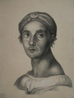 Handzeichnung Die Messe von Bolsena - Kopfstudie eines Schweizergardisten (?) nach Raffaels Fresko 2