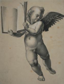 Handzeichnung Disputa del Sacramento (Studie eines Puttos, ein Buch haltend, nach Raffaels Fresko)