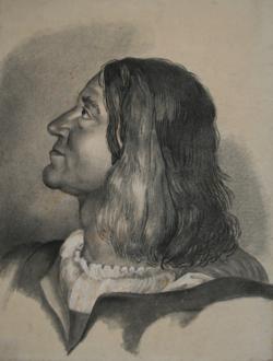 Handzeichnung Die Messe von Bolsena - Kopfstudie eines Schweizergardisten (?) nach Raffaels Fresko