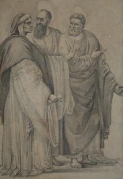 Handzeichnung Der Disput Petri mit Simon dem Zauberer und der Kreuzigung Petri (Figurenstudie einer Männergruppe nach Filippino Lippis Fresko)
