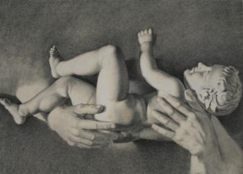 Handzeichnung Studie von der Statue des Silens mit dem Dionysosknaben