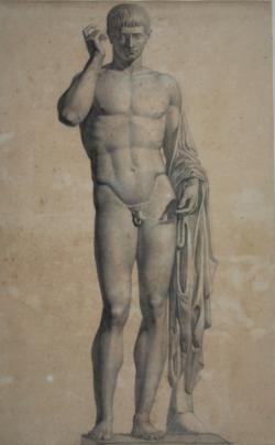 Handzeichnung Zeichnung von einer antiken Rednerstatue mit Porträtkopf und Körper einer Hermesstatue