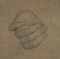 Handzeichnung Studie einer linken Hand