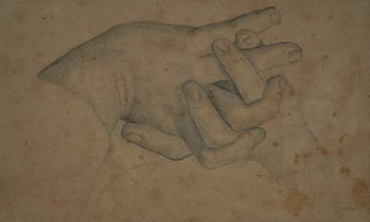 Handzeichnung Studie zweier ineinander verkreuzter Hände
