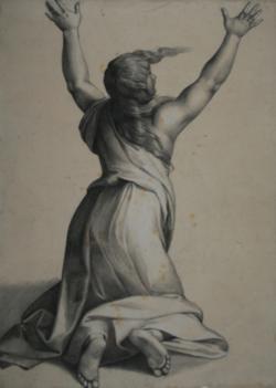 Handzeichnung Studie einer Gewandfigur in Rückenansicht