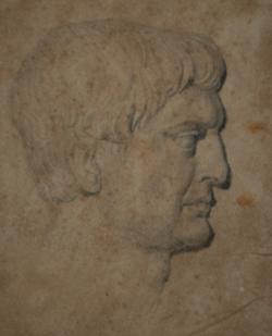 Handzeichnung Kopfstudie des Kaisers Trajan