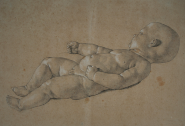 Handzeichnung Nackter männlicher Säugling