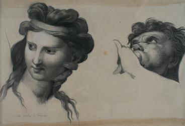 Handzeichnung Kopfstudien einer Nymphe und eines muschelblasenden Tritonen
