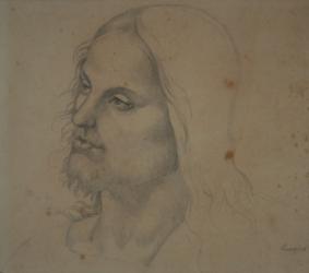 Handzeichnung Kopfstudie des Christus