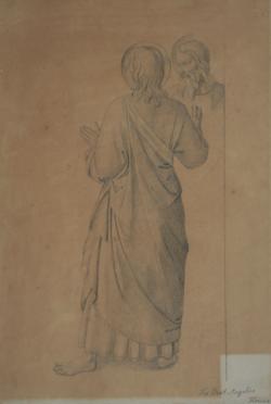 Handzeichnung Studie zweier Gewandfiguren