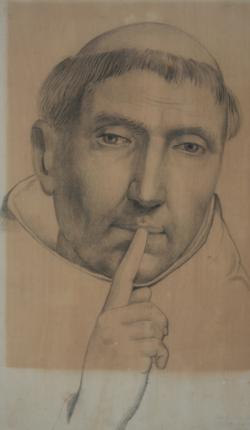 Handzeichnung Petrus Martyr ermahnt zum Schweigen