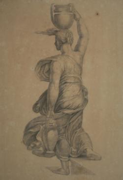 Handzeichnung Studie einer Amphoren tragenden Gewandfigur in Rückenansicht