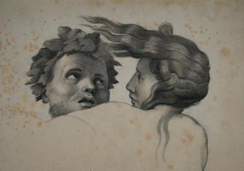Handzeichnung Kopfstudie eines Tritonen und einer Nymphe