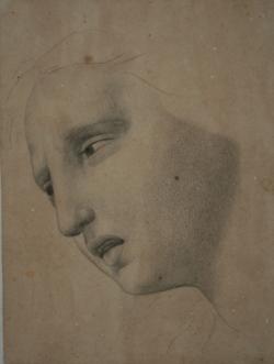 Handzeichnung Gesichtstudie der Maria Magdalena