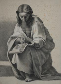 KU000365; Sitzende Gewandfigur mit Tintenfass, Feder und Schriftrolle; Handzeichnung