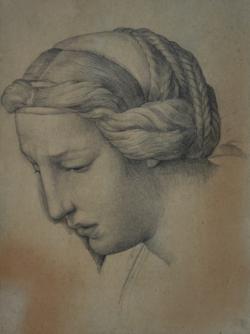 Handzeichnung Kopfstudie von einer der drei Marien