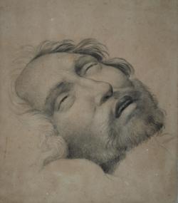 Handzeichnung Kopfstudie des toten Christus
