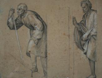 Handzeichnung Heilung durch die Reliquien des Hl. Filippo Benizzi (li)/Die Wiederauferweckung eines Kindes (re); (Studien von zwei unterschiedlichen Männern nach Andrea del Sartos Fresko)