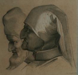 Handzeichnung Kopfstudie zweier Männer