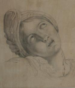Handzeichnung Kopftstudie der heiligen Cäcilia