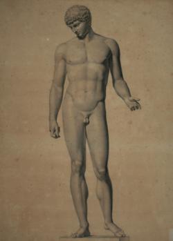 KU000373; Statue des Hermes, sog. Antinous vom Kapitol; Handzeichnung