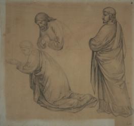 Handzeichnung Studie dreier Gewandfiguren